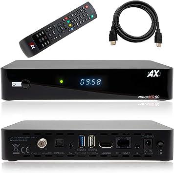 Receptor de satélite AX HD60 4K UHD 2160p E2 Linux 1xDVB-S2X, Incluye Cable HDMI [preprogramado para Astra & Hotbird]: Amazon.es: Electrónica
