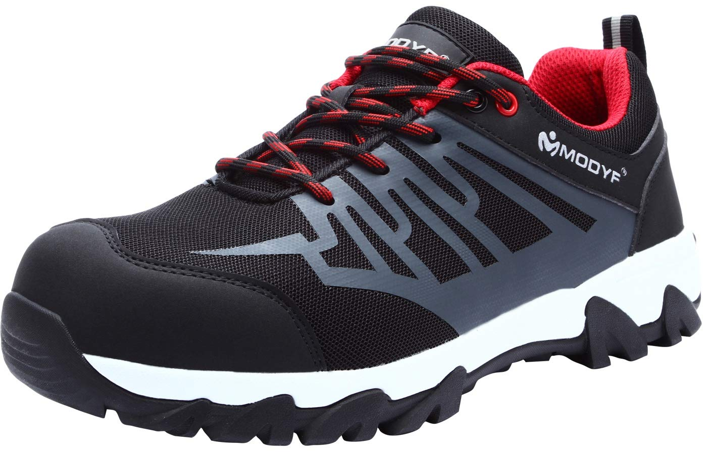 LARNMERN Steel Toe Shoes Men, Safety Work Reflective Strip Puncture Proof Footwear Industrial & Construction Shoe (11.5) Black