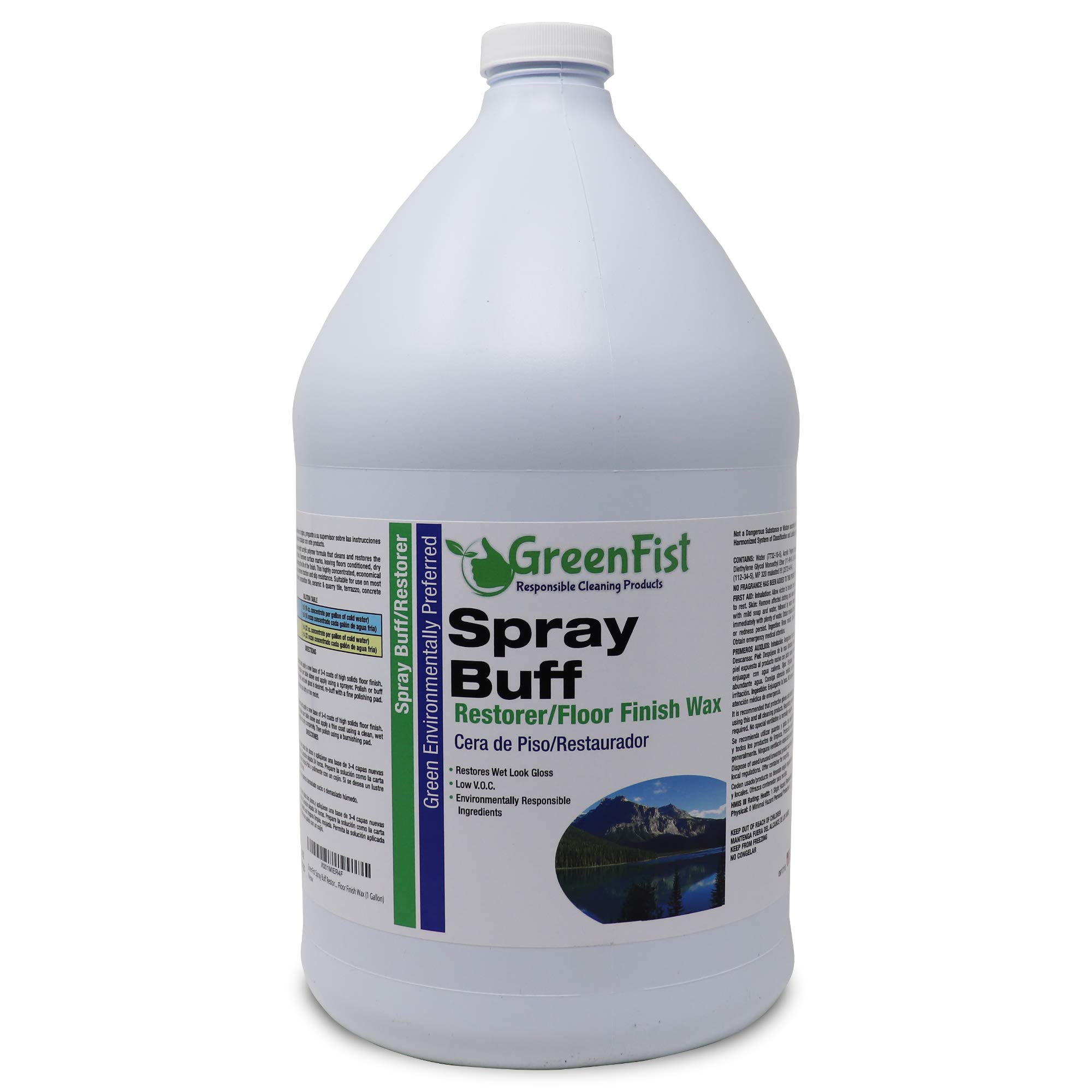 GreenFist Spray Buff Restorer Renewing Floor Finish Wax Polisher Buffer[ Removes Surface Marks, Conditioned, Dry and Spotless Floors ], 1 Gallon