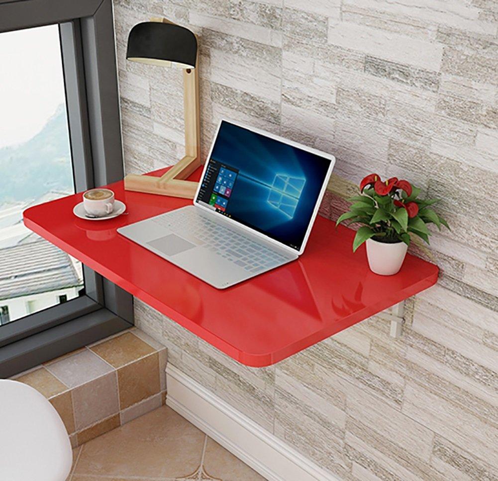 WSSF折りたたみテーブル壁掛けキッチン&ダイニングテーブルペイントレッドコンピュータデスクラップトップテーブル壁掛けスタジオラーニングブックデスク折り畳みテーブルサイズオプション (サイズ さいず : 60*50cm) B07CGKL5MT 60*50cm 60*50cm