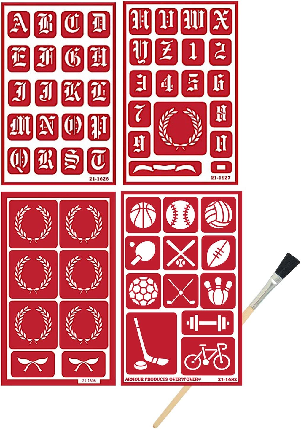 Sports Crest Stencil Set Includes Brush Armour Etch Over N Over Reusable Glass Etching Stencils Alphabet Baseball, Basketball, Football, Etc Total 4 Items