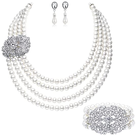 Vintage Style Jewelry, Retro Jewelry BABEYOND 1920s Gatsby Pearl Necklace Vintage Bridal Pearl Necklace Earrings Jewelry Set Multilayer Imitation Pearl Necklace with Brooch $19.99 AT vintagedancer.com