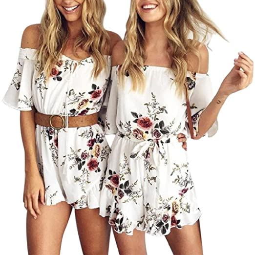 673e4f93f23 Amazon.com  Women Floral Print Short Beach Sexy Off Shoulder Jumpsuit  Rompers Shorts Playsuit  Clothing