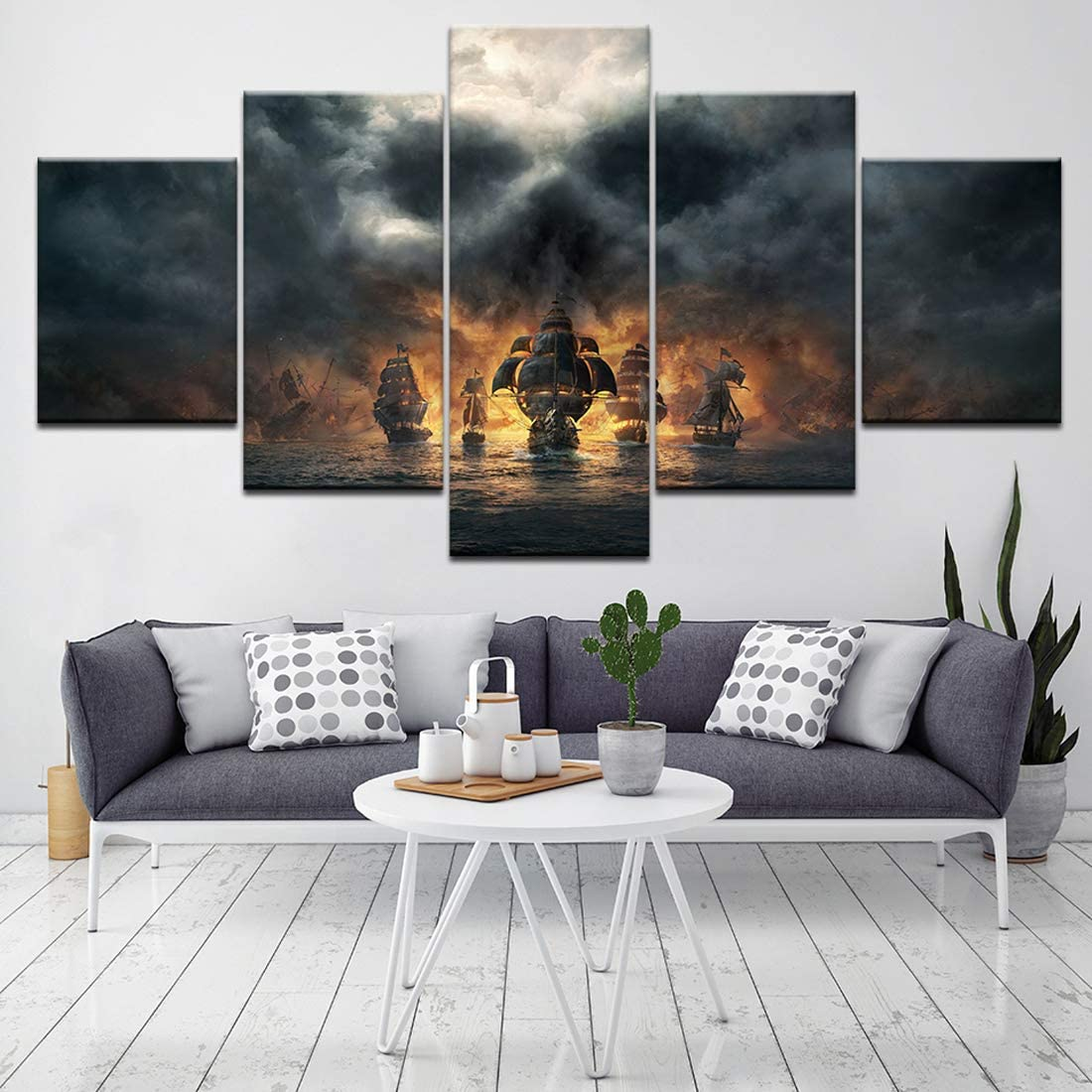 HSART Modern Wall Art 5 Pieces Canvas Painting Pirates of The Caribbean Movie Modular Wallpapers Poster Print Pictures for Living Room,B,40x60x2+40x100x1+40x80x2