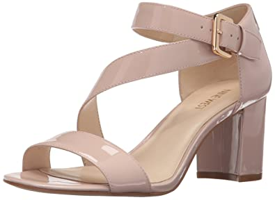 Nine West Women's Talen Patent Dress Sandal, Light Natural, ...