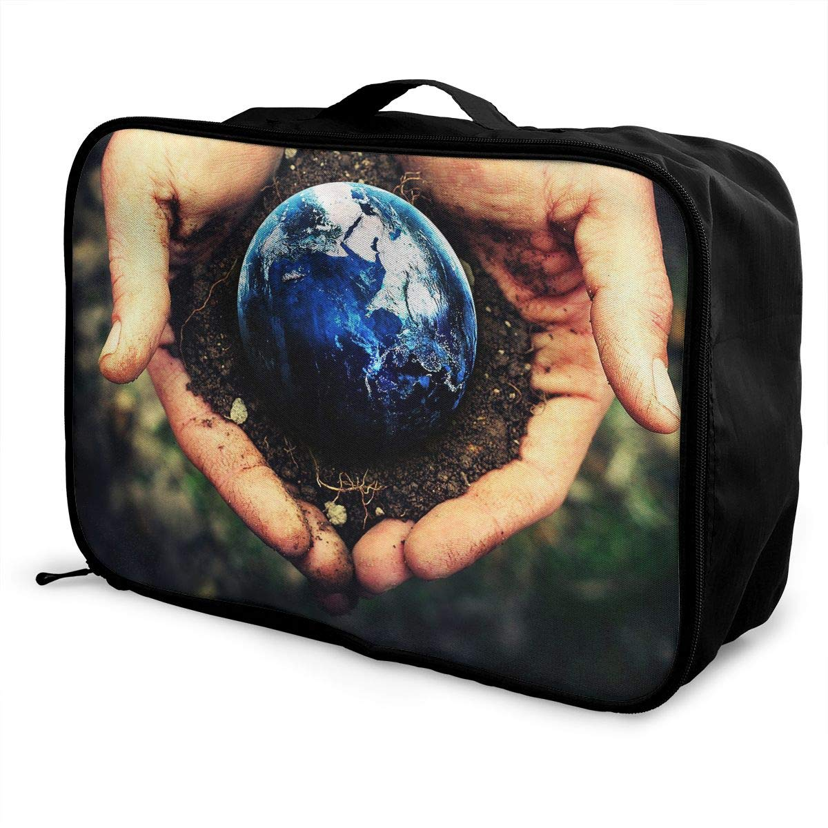 Travel Luggage Duffle Bag Lightweight Portable Handbag Earth Hand Print Large Capacity Waterproof Foldable Storage Tote