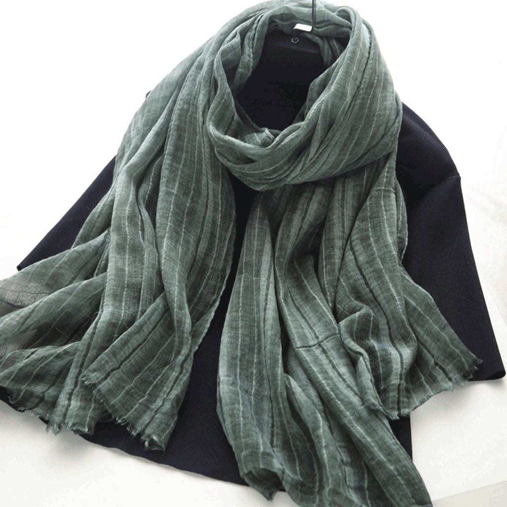 B Softgo Scarf Shawl Pure Cotton and Linen Blended Scarf Shawl Women's Long Section Spring and Autumn Winter Warm Literary Solid color Scarf (color   C)