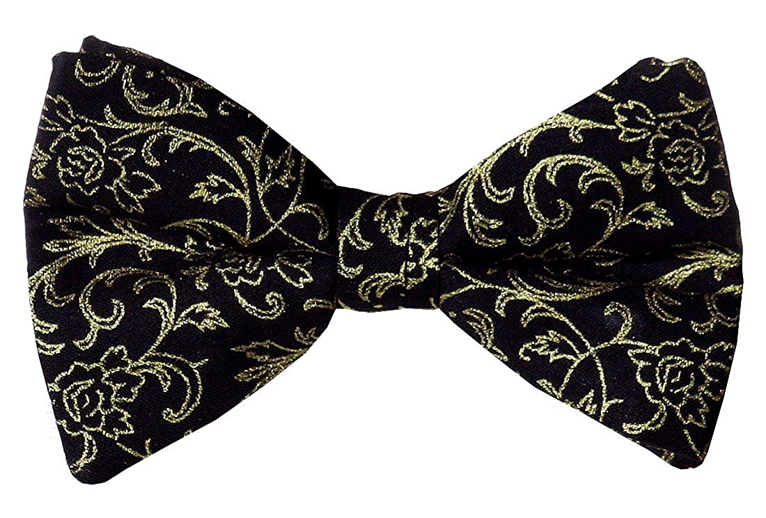 Pre-tied Bow Tie in Black with Gold Metallic Roses for Baby to Men/'s Sizes