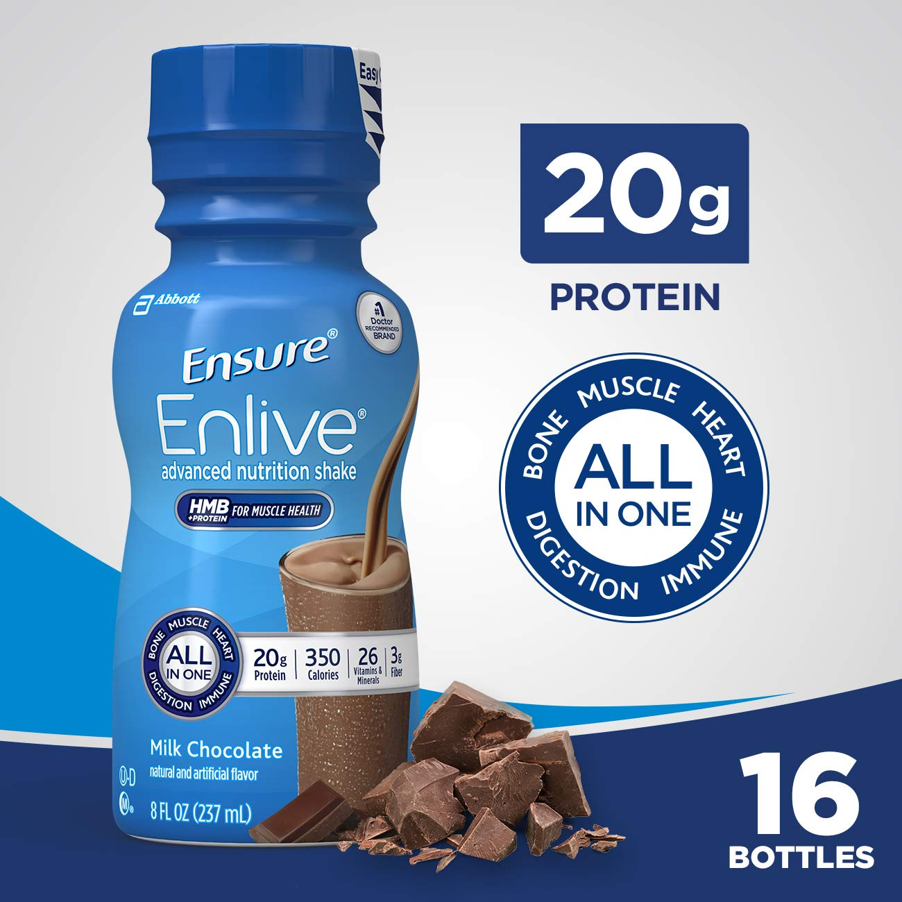 Ensure Enlive Advanced Nutrition Shake with 20 grams of protein, Milk Chocolate, 8 fl oz, 16 count by Ensure