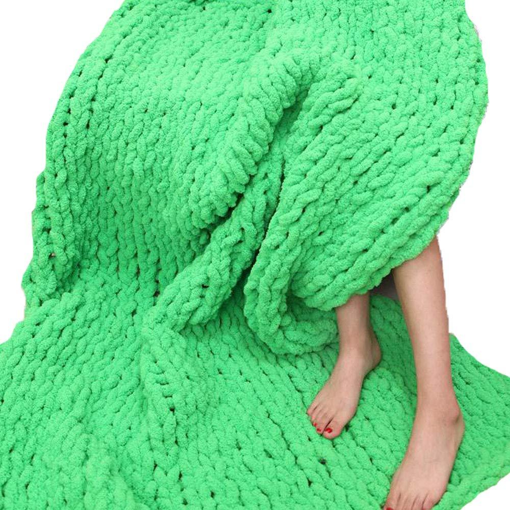 Huge Chunky Green Chenille Knit Blanket Super Chunky Hand Knit Throw,Hand Knitted Chenille Throw Blankets,Thick Knit Blanket 47''x59'' Boy Girl Gift by Vesna market (Image #1)