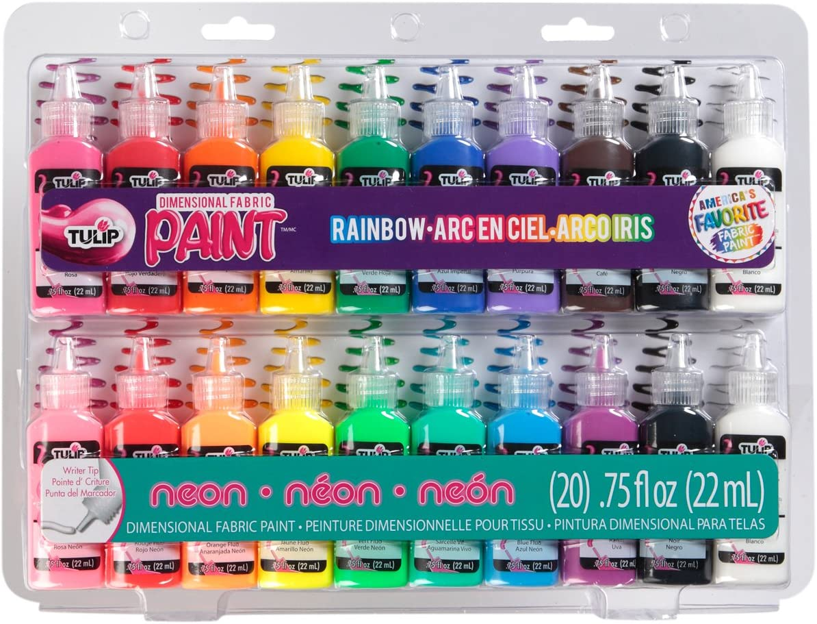 Tulip 10046125 Dimensional Fabric Paint Party Pack, Permanent 3D Paint for Fashion DIYs, Arts & Crafts, Rainbow & Neon Colors (Pack of 20)