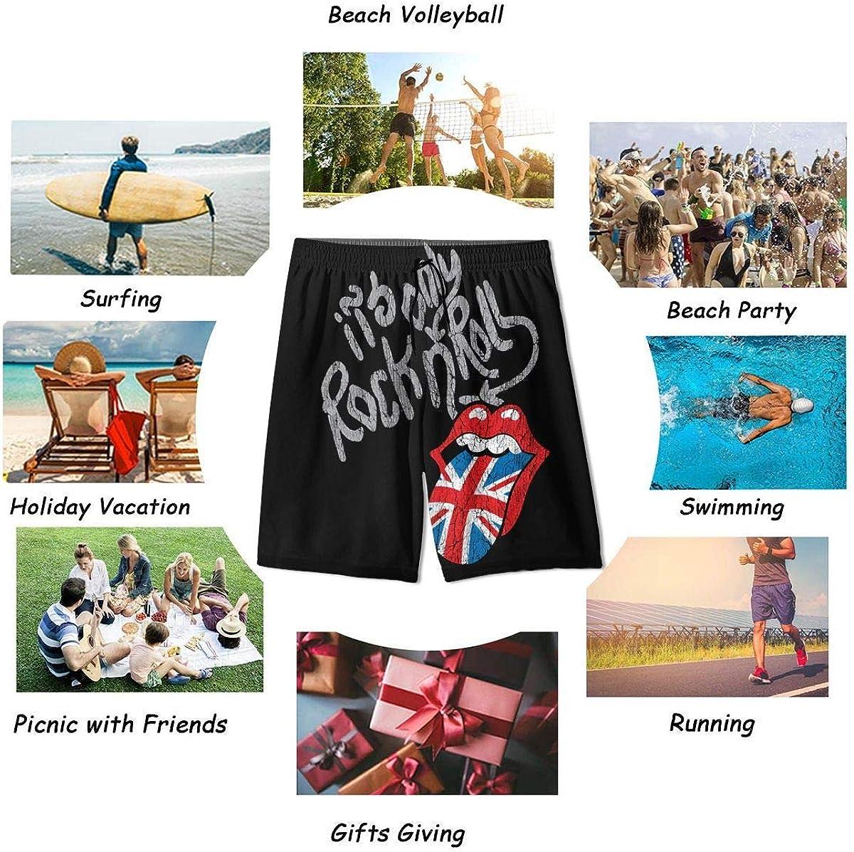 Quick Dry Swimwear RTRTRT 2020 Rol-ling Stones Slim Fit Badehose Beach Half Pants f/ür Teenager-Jungen
