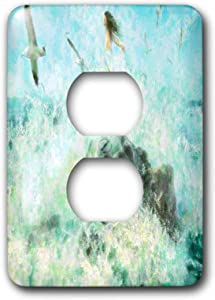 3dRose lens Art by Florene - Impressionism Art - Image of Fairy Stands On Rocks In Ocean With Seagulls - 2 plug outlet cover (lsp_322673_6)