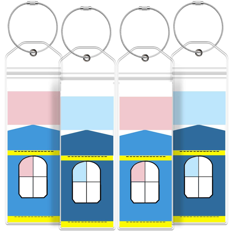 Poche en PVC r/ésistant aux intemp/éries Clair Paquet de 8 Greatshield Porte-/étiquette de Bagage de croisi/ère /étroite avec Fermeture /à glissi/ère et Boucles dacier