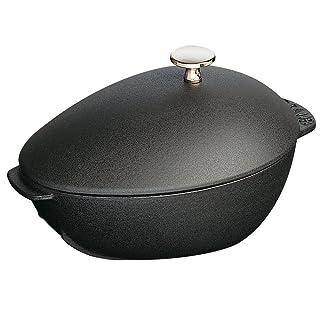 Staub 1102523 Cast Iron Mussel Pot, 2-quart, Black Matte