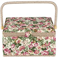 Cesta de costura de tela, diseño floral, organizador