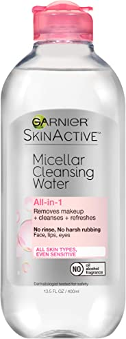 Garnier Micellar Cleansing Water for All Skin Types, Gentle Makeup Remover, 400 mL