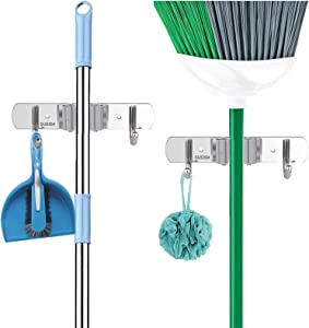 2PCS Broom Mop Holder Wall Mount Stainless Steel Wall Mounted Storage Organizer Heavy Duty Tools Hanger with 1 Racks 2 Hooks for Kitchen Bathroom Closet Office Garden.