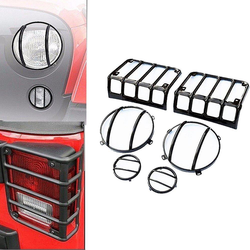 SXMA LED Light Cover Guard Kit Steel Car Accessories Led light Guard Covers Hood Protect for TailLight HeadLight Parking Lamp JK Wrangler & Wrangler Unlimited d20180403170341
