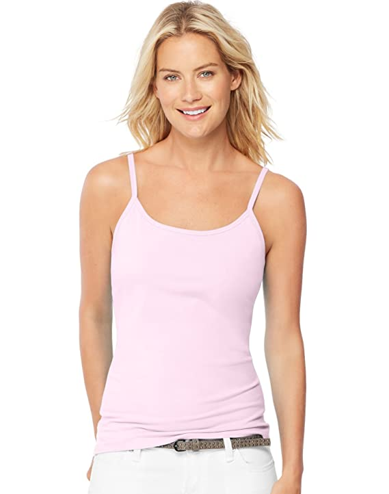 baf1f2704afab Hanes Women s Stretch Cotton Cami with Built-in Shelf Bra at Amazon Women s  Clothing store