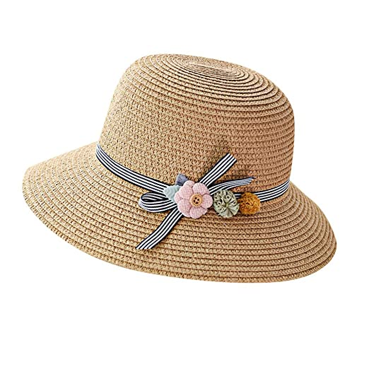 ebcc413c1af Image Unavailable. Image not available for. Color  Botrong Straw Hats for  Women Wide Brimmed Floppy Foldable Flower Summer Sun Beach ...
