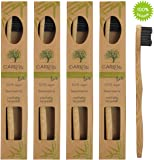 4er-Pack Bambus-Zahnbürste (klein) ♻ Kleine Holzzahnbürste für Kinder und Erwachsene aus Bambus-Holz ♻ Plastikfrei verpackte Holzzahnbürste mit kleinem Bürstenkopf ♻ Kinderzahnbürste mit kleinem Kopf