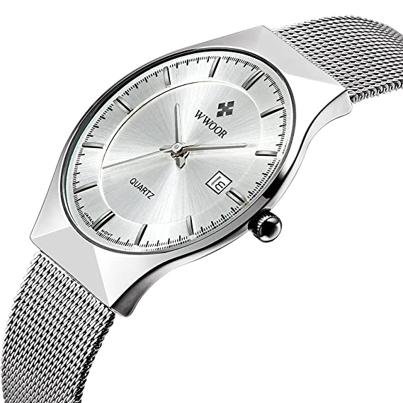WWOOR - WR-8016 - Reloj de pulsera para hombre, de cuarzo, ultra fino, de malla, de acero inoxidable, con fecha: wwoor: Amazon.es: Relojes