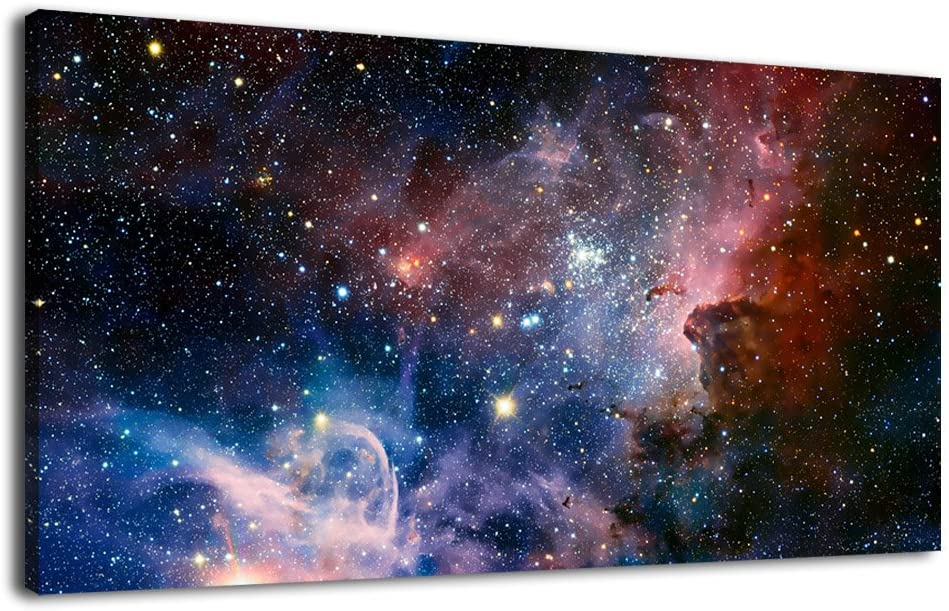 "arteWOODS Canvas Wall Art Galaxy Nebula Starry Cosmic Painting Pictures Panoramic Canvas Arotwork Universe Stars Outer Space Wall Art for Home Office Decoration Framed Ready to Hang 20"" x 40"""