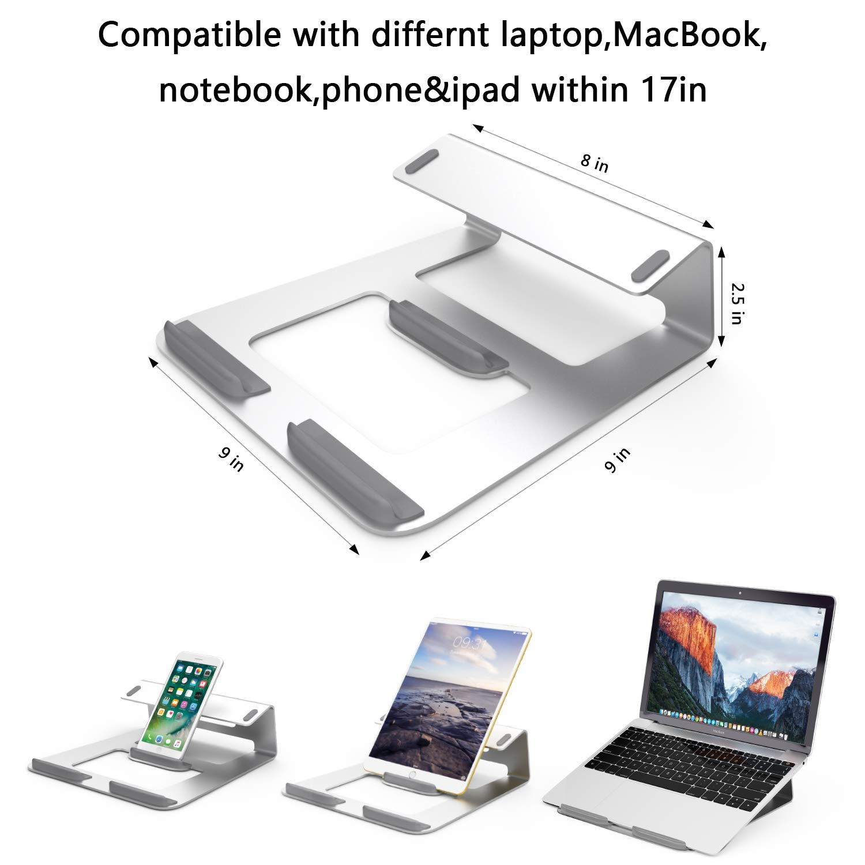 Tablet e Smartphone(Argento) Massway Supporto per Computer Portatile Notebook 3-in-1 Laptop Stand Multifunzione Design in Lega di Alluminio Integrato Supporto Laptop Ergonomico per MacBook