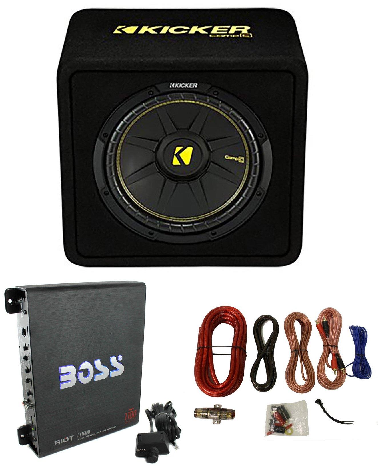 Kicker 44VCWC124 12'' 600W Loaded Car Subwoofer + Enclosure + 1100W Amp + Amp Kit