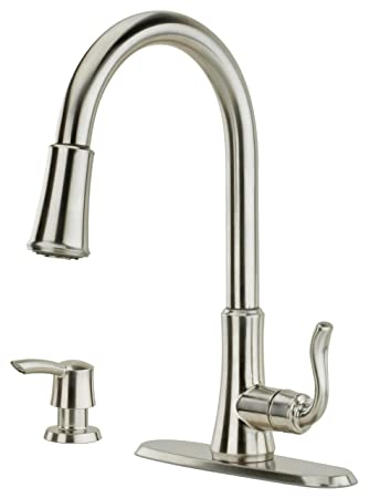Pfister Cagney 1 Handle Pull Down Kitchen Faucet With Soap Dispenser,  Stainless Steel