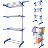 MultiWare Foldable 3 Layer Tier Clothes Airer Folding Hanger Dryer Stand Rack Powder Coated Tube Indoor Outdoor Laundry…