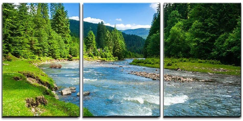 "wall26 - 3 Piece Canvas Wall Art - Landscape with Mountains Trees and a River in Front - Modern Home Art Stretched and Framed Ready to Hang - 16""x24""x3 Panels"