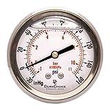 2-1/2'' Oil Filled Vacuum Pressure Gauge - Stainless Steel Case, Brass, 1/4'' NPT, Center Back Mount Connection -30HG/0 (Tamaño: -30HG/0)