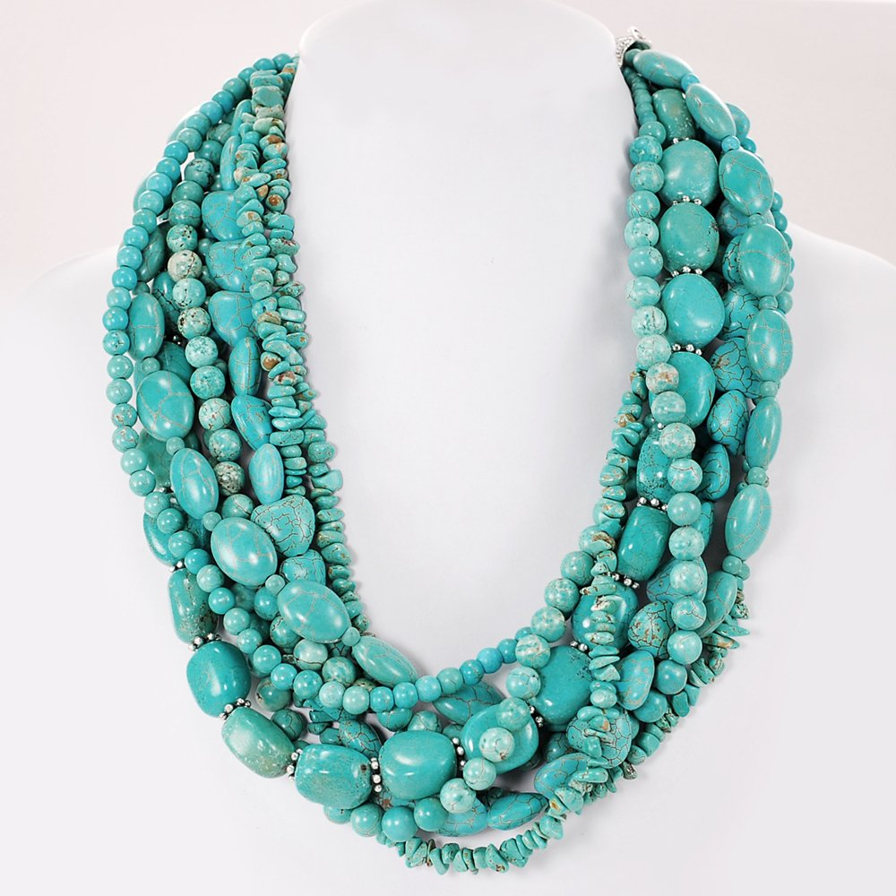 001 Multi-strands Blue Magnesite Turquoise Beads Huge Necklace w/Silver Plated Clasp 20'' N4101406p