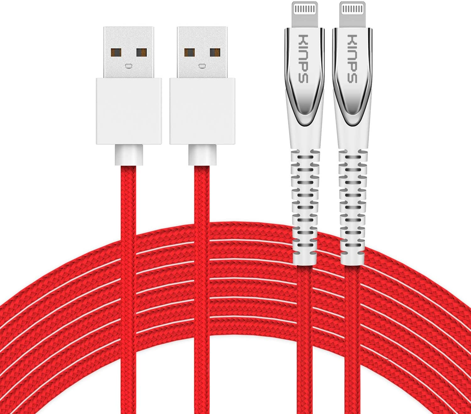 KINPS Apple MFI Certified Lightning Cable 10FT (2-Pack), Upgrade iPhone Charger Cord Compatible with iPhone Xs Max/XS/XR/X/8 Plus/8/7 Plus/7/6S Plu/6Ss, iPad, (Red)