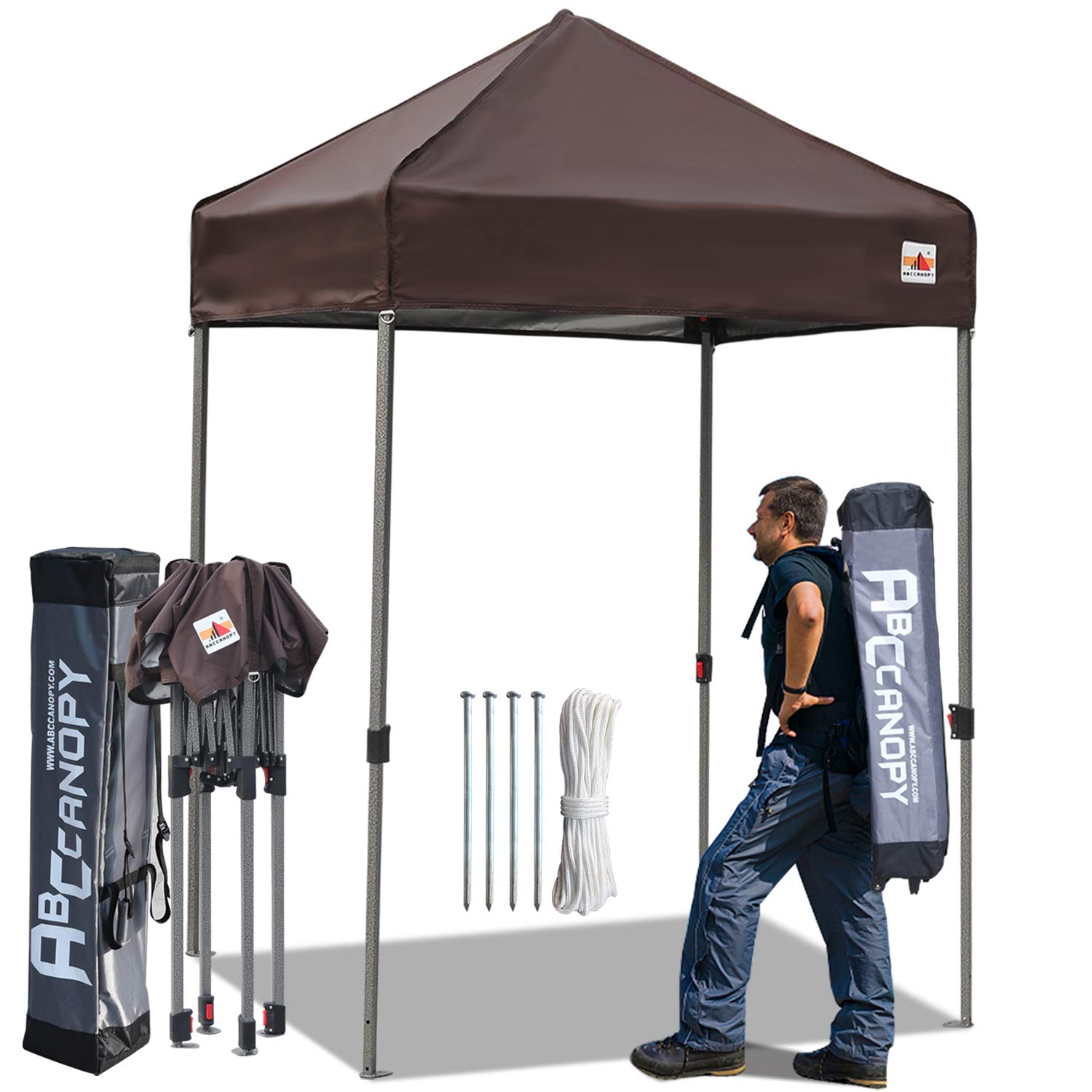 ABCCANOPY Tent Pop up Canopies 5 x5 Comapct Canopy Tent Outdoor Portable Canopies Sun Shelter with Backpack Roller Bag, Bonus 4 Stakes and Ropes