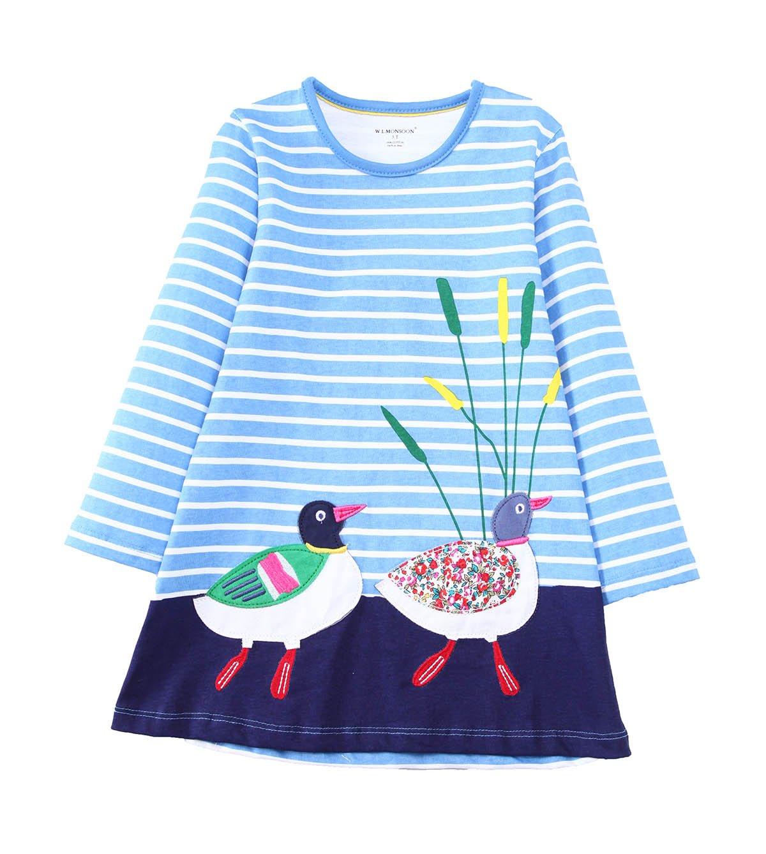 Little Girls Cute Casual Cotton Animals Printed Stripe Long Sleeve Playwear Dress Greens-D1-02