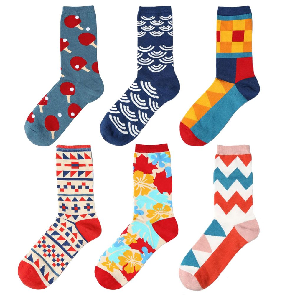 Ziye Shop 6 Pairs English Classic Style Socks Couple Cotton Socks for Girls and Boys