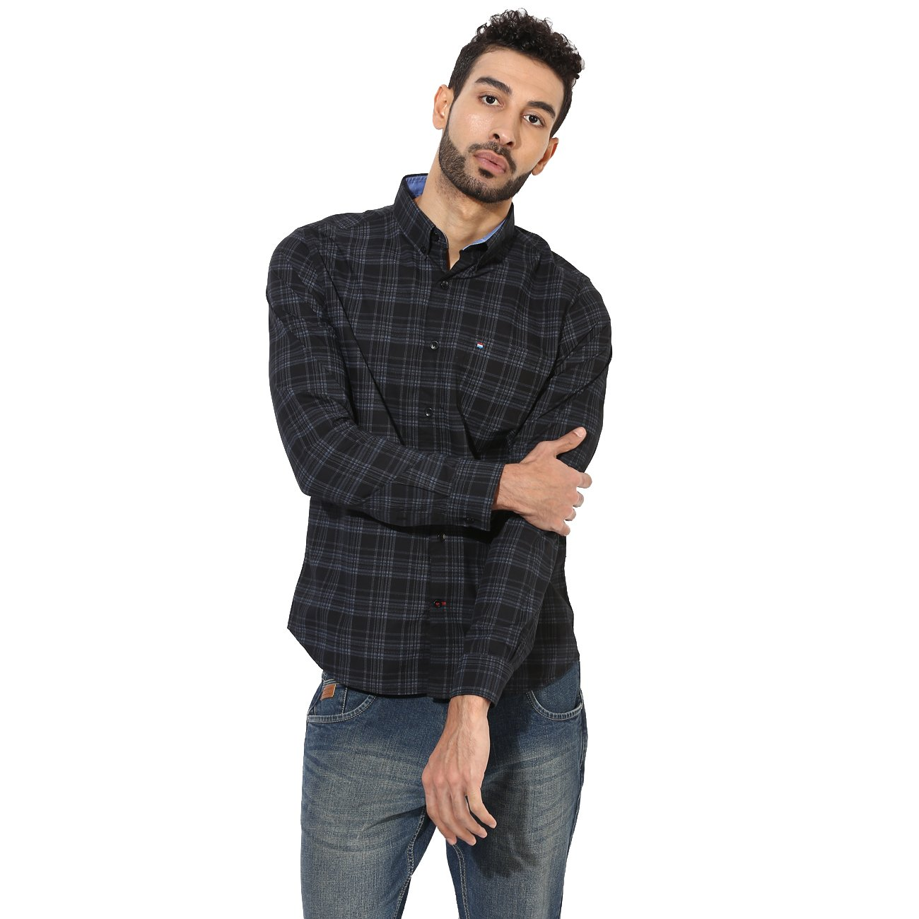 47115ae99f Red Chief Black Men Casual Cotton Full Sleeve Regular Fit Shirt (8110418  001)  Amazon.in  Clothing   Accessories