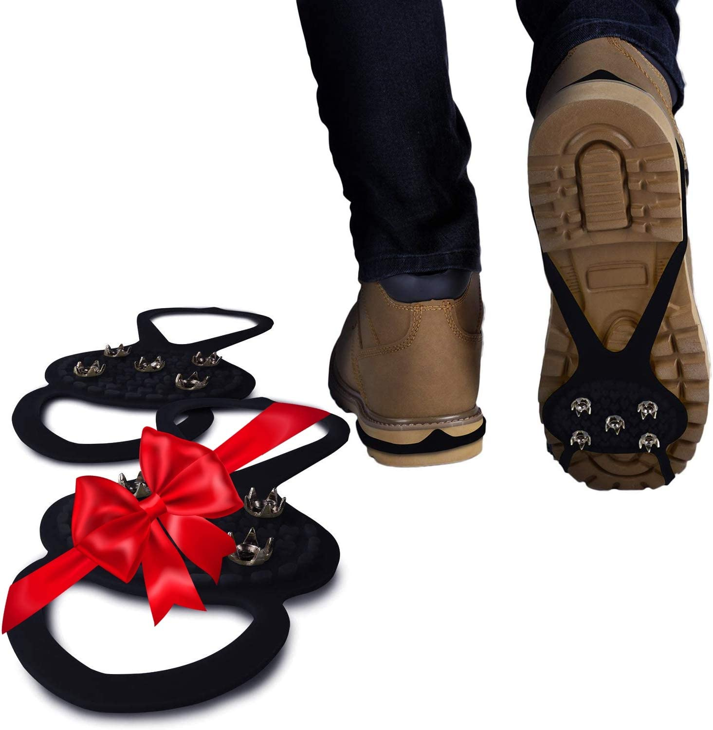 2Pair-Black-A Universal Non-Slip Gripper Spikes Silicone Crampons Ice Grips Cleat Shoes Ice Climbing Shoes ice Gripper Spike Anti Skid Anti Slip ice Grippers Outdoor Snow Climbing