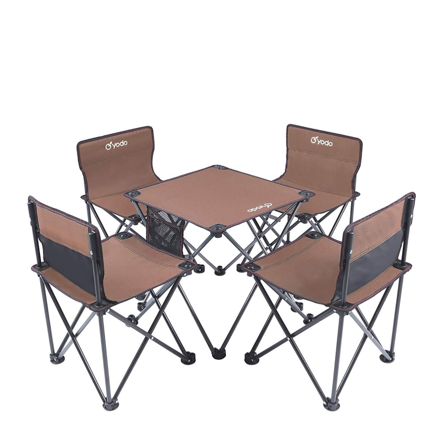 Picnic Table Fold Away Folding Portable Camping Table with Mesh Bag for Courtyard Interior oO (Color : Brown) by MUMM