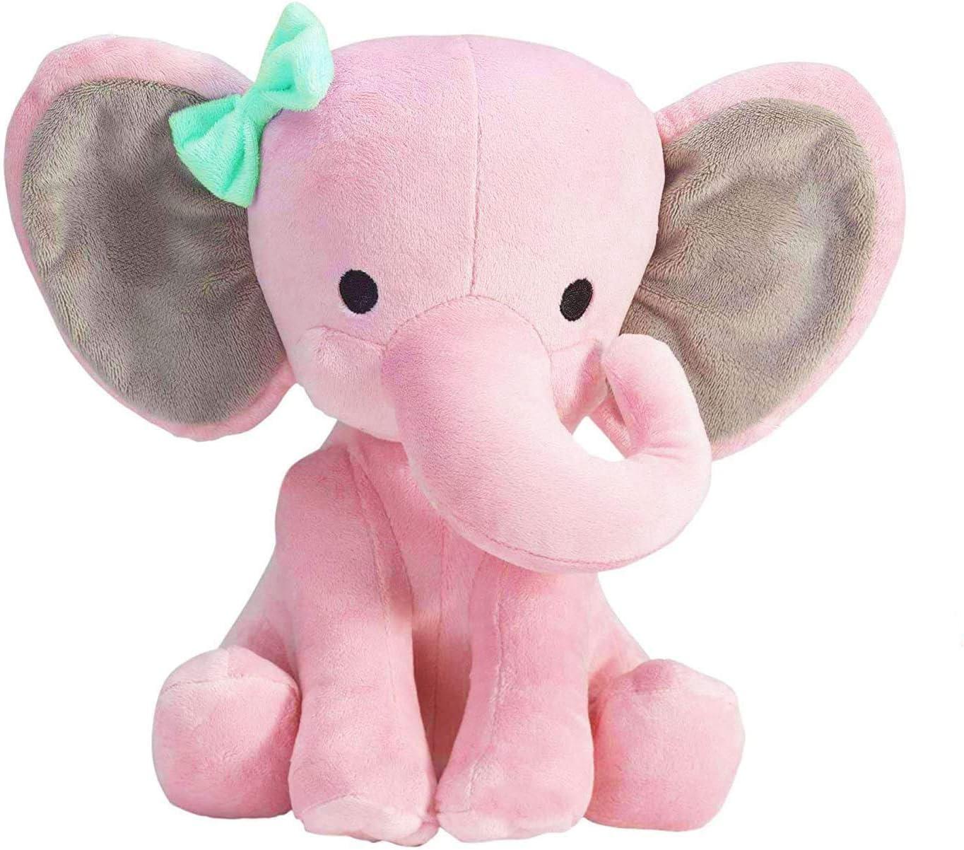 ECEJIX Plush Stuffed Elephant ,PINK 9 inch