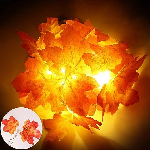 Warm Yellow Light Autumn Harvest Leaf Garland String Christmas Party Decor 10LED