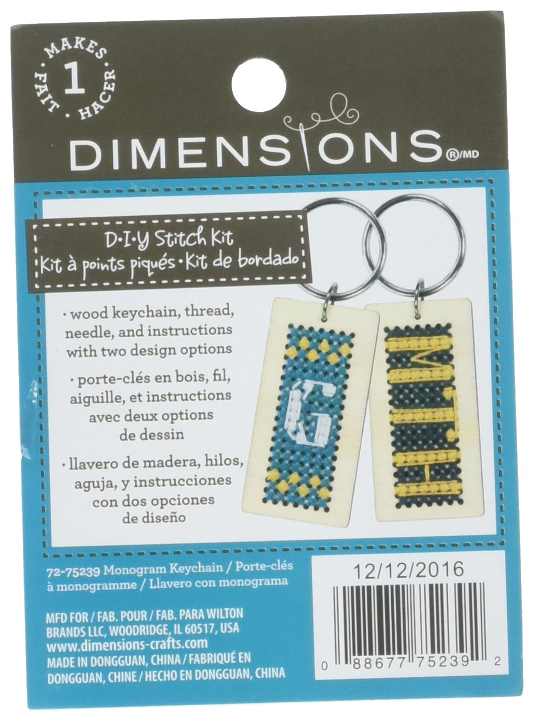 Amazon.com: Dimensions Counted Cross Stitch Monogram Wood ...