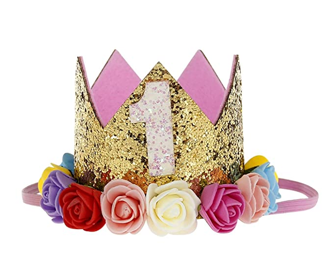 22a8f93390e Baby Girl 1st Birthday Flower Headbands Sparkle Golden Crown Colorful Rose Party  Hat Hair Accessories Colorful