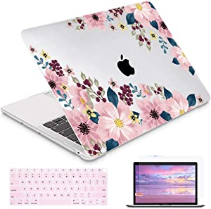i-King for MacBook Air 13 Inch 2020 2019 2018 Release M1 A2337/A1932/A2179 with Retina Display Touch ID, Plastic Hard Shell Case and Keyboard Cover for MacBook Air 13 - Pink Peony