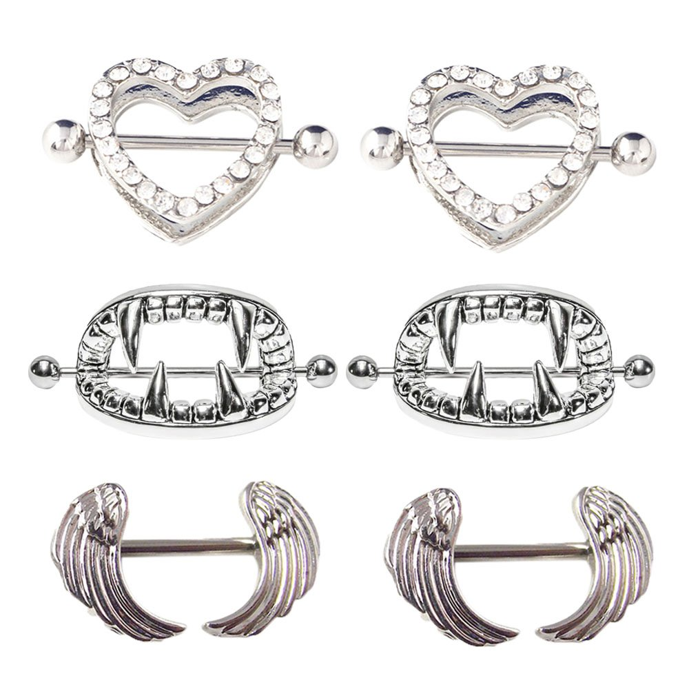 UBOOMS 1 or 3 or 4 or 5 or 10 Pair Nipple Rings Different Shape Nickel Free Body Piercing Jewelry Surgical Steel