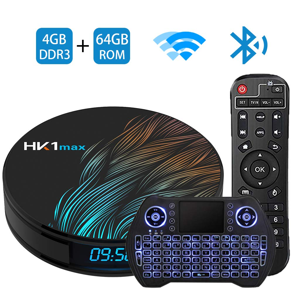 Android TV Box 9.0 4GB 64GBSmart TV Box Streaming Media Player RK3318 USB 3.0 Ultra HD 4K HDR Dual Band WiFi 2.4GHz 5.8GHz Bluetooth 4.1 Set Top Box with Mini Wireless Backlit Keyboard HK1 MAX 4G 64G by C Cosycost