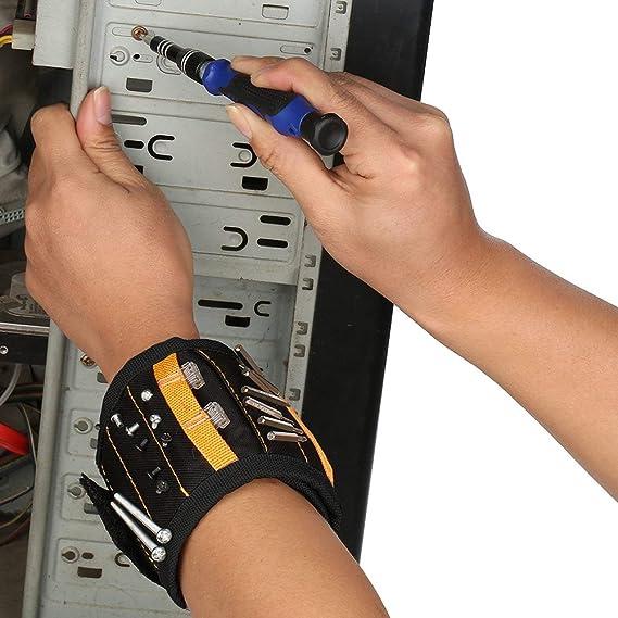 MLM Pulsera magnética con 15 fuertes imanes para sujetar tornillos, herramientas, clavos, brocas de perforación, duradero soporte de herramientas ajustable ...